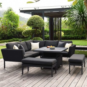 Maze Lounge Outdoor Fabric Pulse Square Charcoal Corner Dining Set with Rising Table