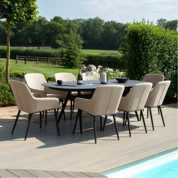 Maze Lounge Outdoor Fabric Zest 8 Seat Oval Dining Set in Taupe - PRE ORDER