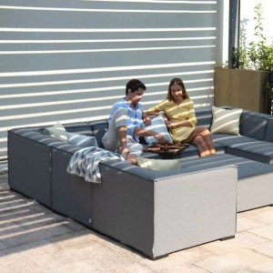 Maze Lounge Outdoor Fabric Apollo Flanelle Corner Sofa Group