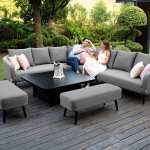 Maze Lounge Outdoor Fabric Ambition Flanelle Square Corner Dining Set with Rising Table