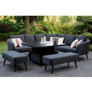 Maze Lounge Outdoor Fabric Ambition Charcoal Square Corner Dining Set with Rising Table