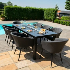 Maze Lounge Outdoor Fabric Ambition Charcoal 8 Seat Rectangular Fire Pit Dining Set