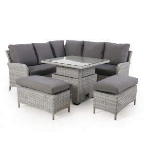 Maze Rattan Garden Furniture Ascot Square Corner Dining Set with Rising Table