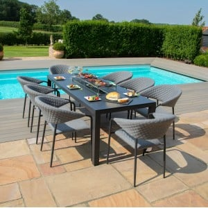 Maze Lounge Outdoor Fabric Pebble Flanelle 8 Seat Rectangular Fire Pit Dining Set