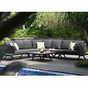 Maze Lounge Outdoor Fabric Cove Charcoal Corner Sofa Group
