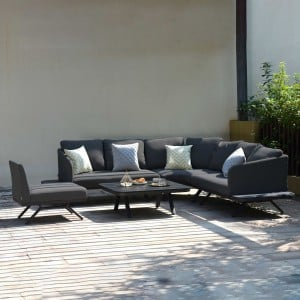 Maze Lounge Outdoor Fabric Cove Charcoal Large Corner Sofa Group