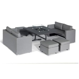 Maze Lounge Outdoor Fabric Fuzion Flanelle Sofa Cube Set with Fire Pit