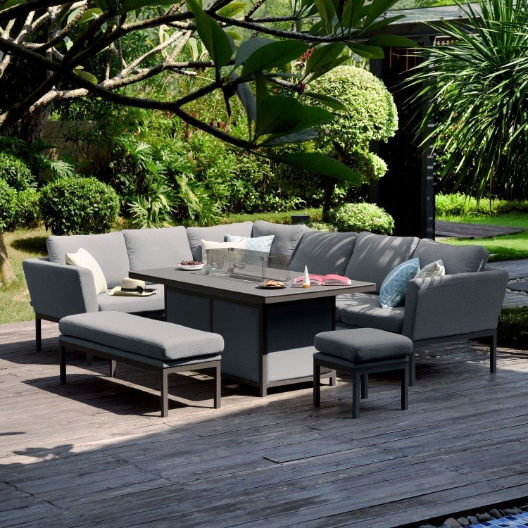 Maze Lounge Outdoor Fabric Pulse Rectangular Flanelle Corner Dining Set with Fire Pit - PRE ORDER