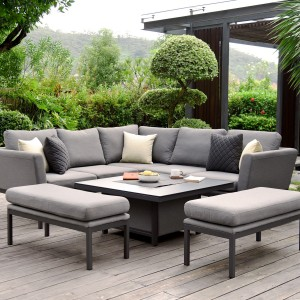 Maze Lounge Outdoor Fabric Pulse Square Flanelle Corner Dining Set with Fire Pit