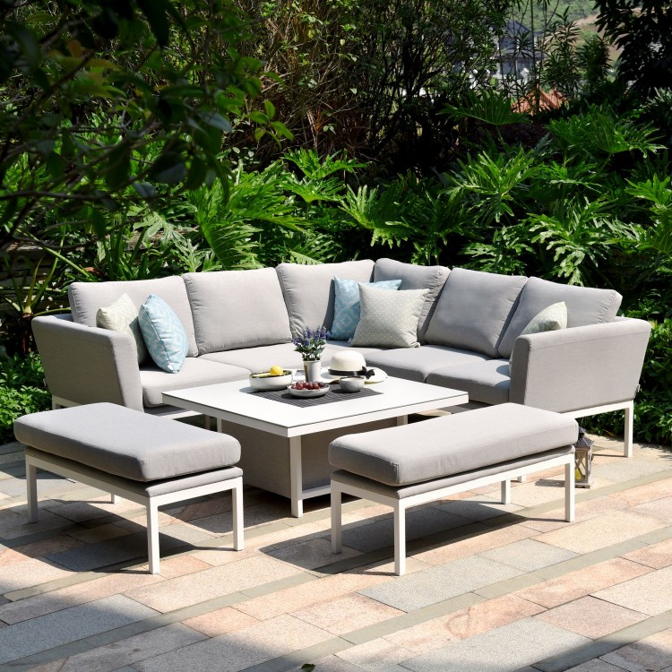 Maze Lounge Outdoor Fabric Pulse Square Lead Chine Corner Dining Set with Rising Table