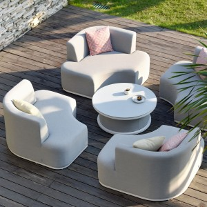 Maze Lounge Outdoor Fabric Snug Lifestle Suite with Rising Table in Lead Chine