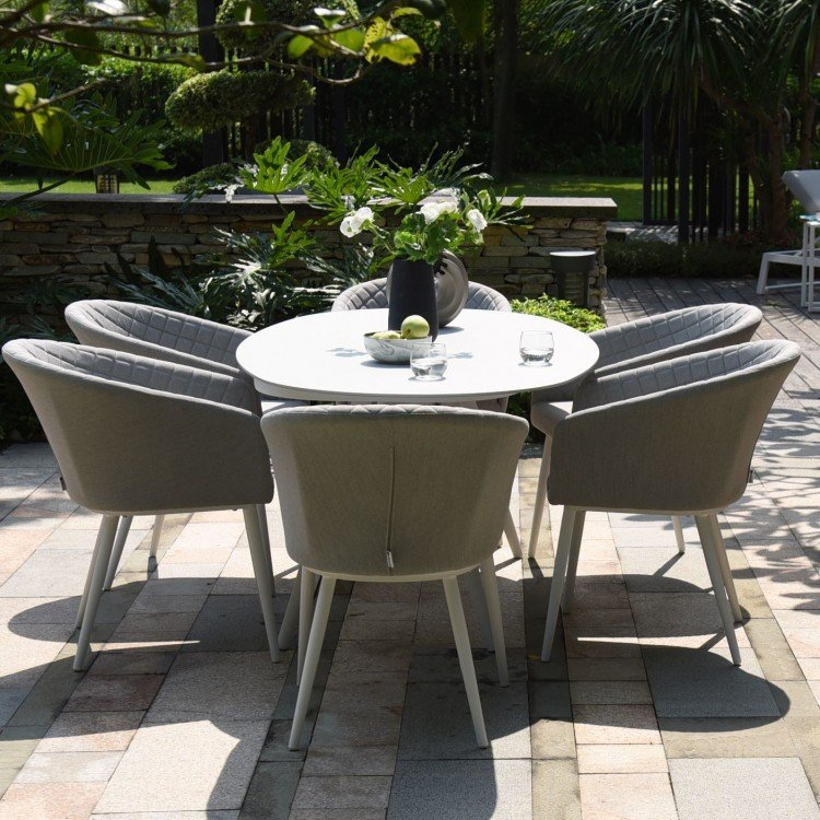 Maze Lounge Outdoor Fabric Ambition Lead Chine 6 Seat Oval Dining Set - PRE ORDER