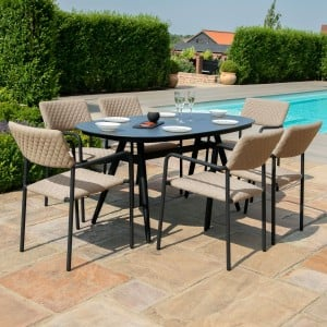 Maze Lounge Outdoor Fabric Bliss Taupe 6 Seat Oval Dining Set
