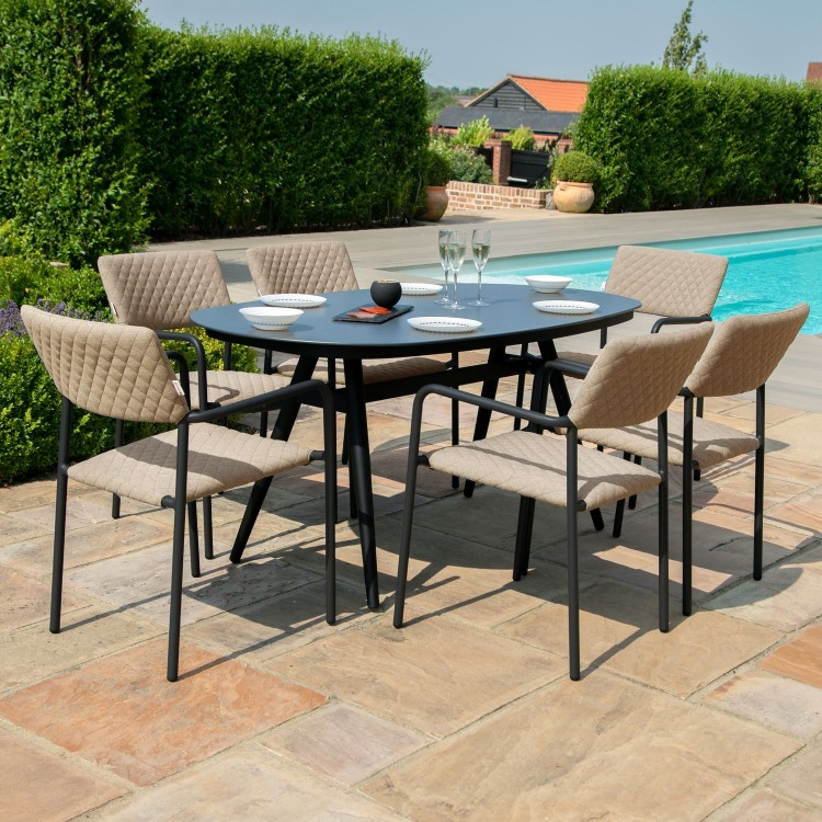 Maze Lounge Outdoor Fabric Bliss Taupe 6 Seat Oval Dining Set - PRE ORDER