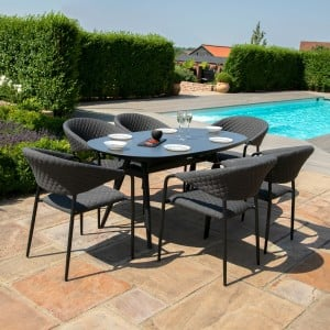 Maze Lounge Outdoor Fabric Pebble Charcoal 6 Seat Oval Dining Set