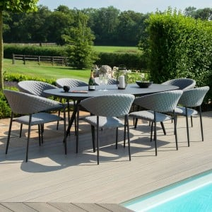 Maze Lounge Outdoor Fabric Pebble Flanelle 8 Seat Oval Dining Set