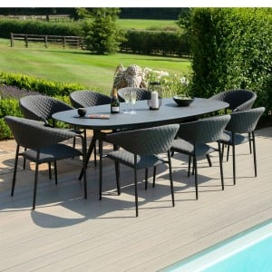 Maze Lounge Outdoor Fabric Pebble Charcoal 8 Seat Oval Dining Set