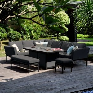 Maze Lounge Outdoor Fabric Pulse Charcoal Rectangular Corner Dining Set with Fire Pit