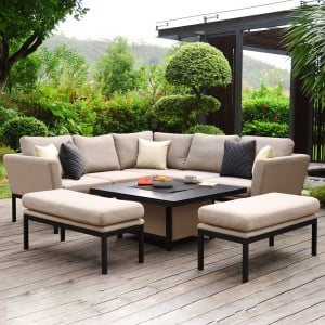 Maze Lounge Outdoor Fabric Pulse Taupe Square Corner Dining Set with Rising Table
