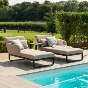 Maze Lounge Outdoor Fabric Unity Taupe Double Sunlounger