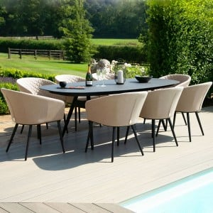 Maze Lounge Outdoor Fabric Taupe Ambition 8 Seat Oval Dining Set
