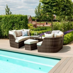 Maze Rattan Garden Furniture Cheltenham Brown Daybed