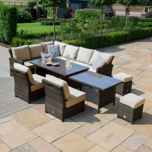 Maze Rattan Garden Furniture Kingston Brown Extending Corner Dining Set