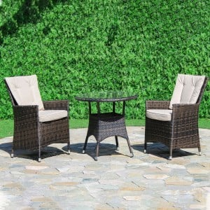 Maze Rattan Garden Furniture LA 2 Seat Brown Round Bistro Set
