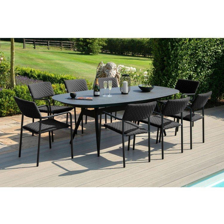 Maze Lounge Outdoor Fabric Bliss Charcoal 8 Seat Oval Dining Set