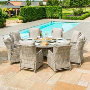 Maze Rattan Garden Furniture Cotswolds Reclining 8 Seat Round Dining Set