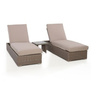 Maze Rattan Garden Furniture Harrogate Sun Lounger Set With Weatherproof Cushions