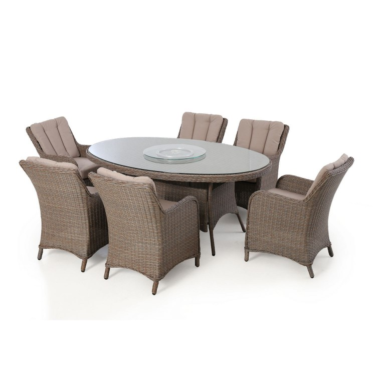 Maze Rattan Garden Furniture Harrogate 6 Seat Oval Dining Set with Weatherproof Cushions
