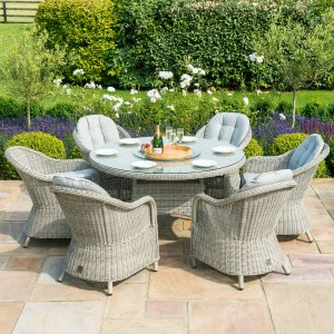Maze Rattan Garden Furniture Oxford 6 Seat Round Dining Set with Heritage Chairs