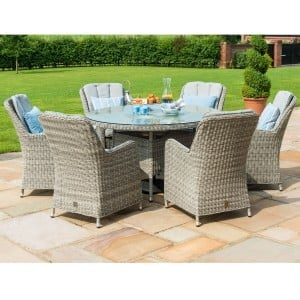 Maze Rattan Garden Furniture Oxford 6 Seat Round Dining Set with Venice Chairs