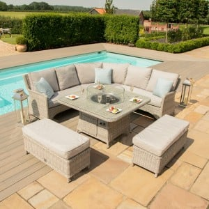 Maze Rattan Garden Furniture Oxford Royal Corner Dining Set with Firepit