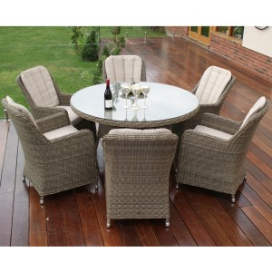 Maze Rattan Garden Furniture Winchester 6 Seat Round Dining Set with Venice Chairs