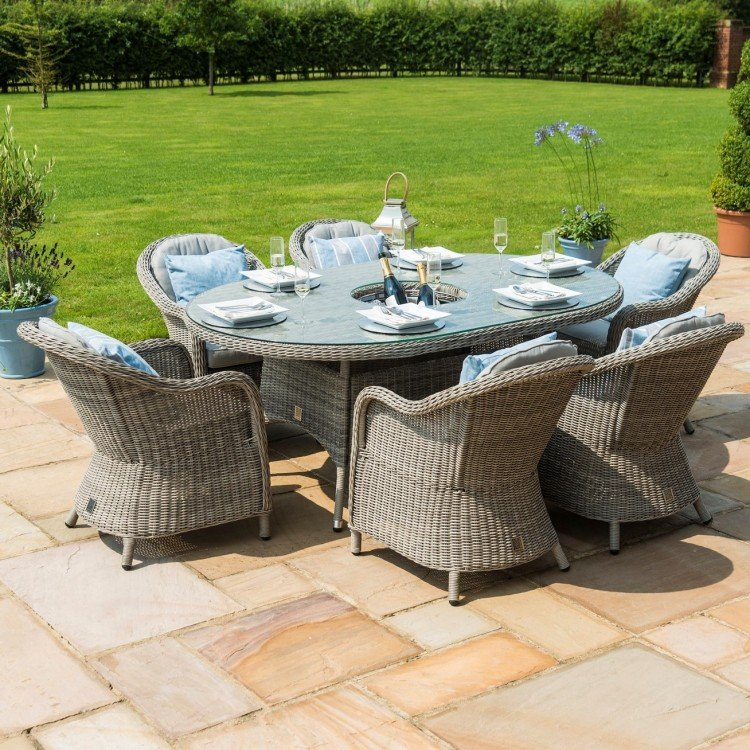 Maze Rattan Garden Oxford 6 Seat Oval Ice Bucket Dining Set with Heritage Chairs - PRE ORDER