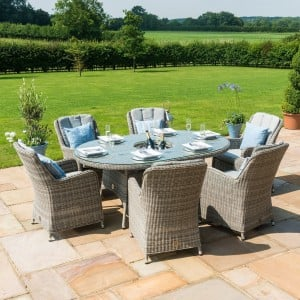 Maze Rattan Garden Furniture Oxford Oval Ice Bucket Table with 6 Venice Chairs & Lazy Susan