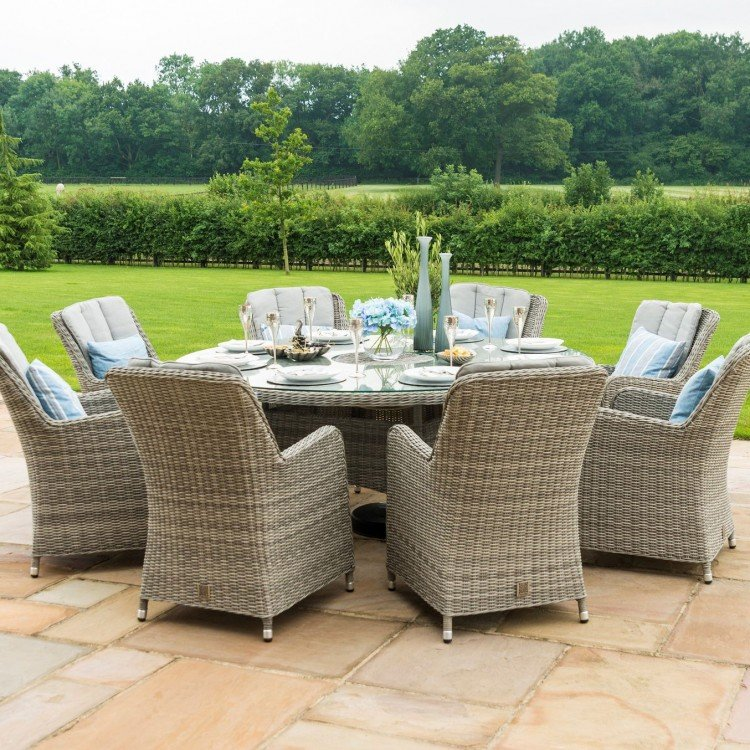 Maze Rattan Garden Furniture Oxford Round Ice Bucket Table with 8 Venice Chairs & Lazy Susan