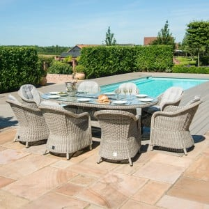 Maze Rattan Garden Furniture Oxford 8 Seat Oval Fire Pit Table with Heritage Chairs