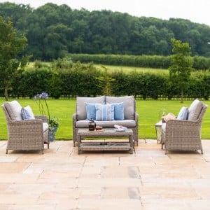 Maze Rattan Garden Furniture Oxford High Back Square Sofa Set with Coffee Table