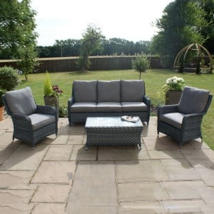 Maze Rattan Garden Furniture Victoria High Back 3 Seat Sofa Set
