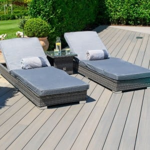 Maze Rattan Garden Furniture Victoria 3 Piece Sunlounger Set