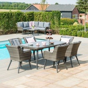 Maze Rattan Garden Furniture Florence 6 Seat Rectangular Dining Set