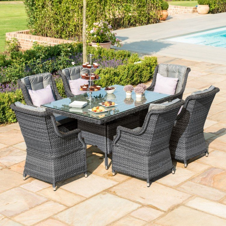 Maze Rattan Garden Furniture Victoria 6 Seat Rectangular Dining Set with Square Chairs