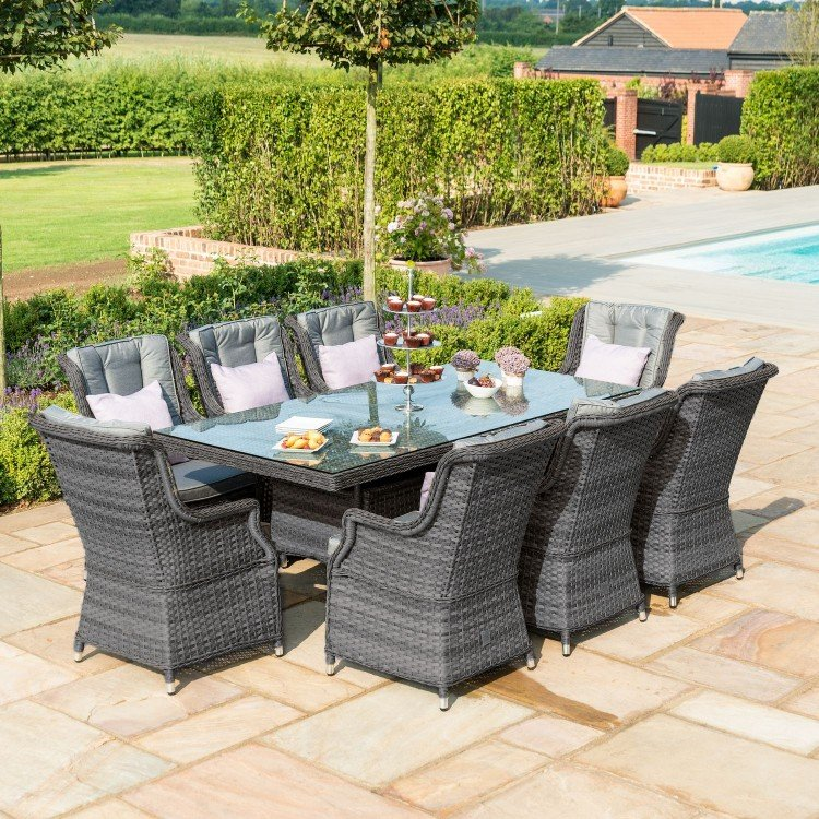 Maze Rattan Garden Furniture Victoria 8 Seat Rectangular Dining Set with Square Chairs