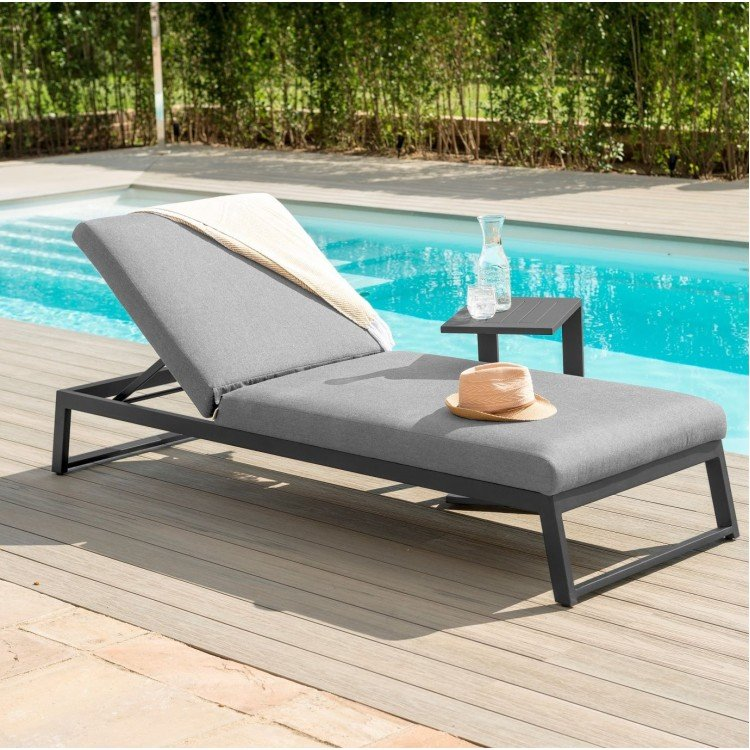 Maze Lounge Outdoor Fabric Allure Sunlounger in Flanelle