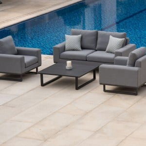 Maze Lounge Outdoor Fabric Ethos 2 Seat Sofa Set in Flanelle
