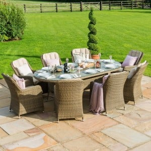 Maze Rattan Garden Furniture Winchester 8 Seat Oval Ice Bucket Dining Set with Venice Chairs