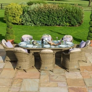 Maze Rattan Garden Furniture Winchester Oval Table with 8 Rounded Chairs & Ice Bucket